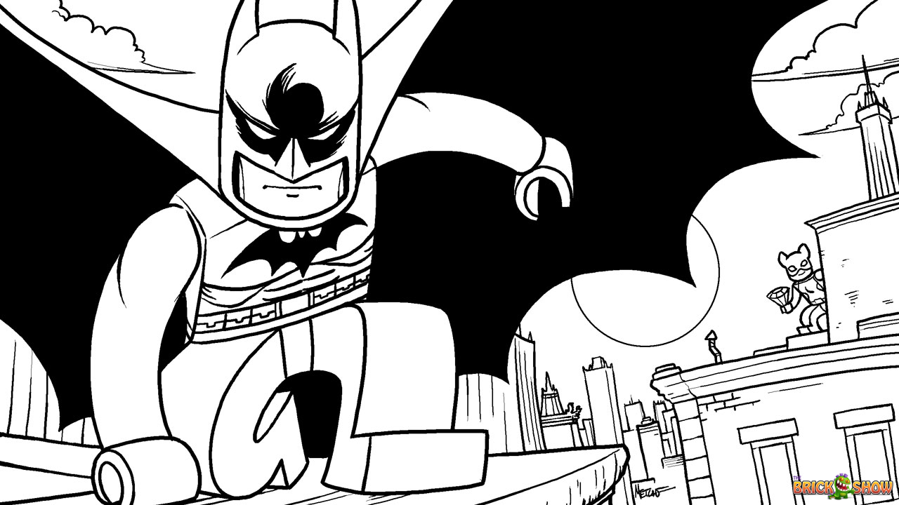 lego batman pursues catwoman coloring page printable